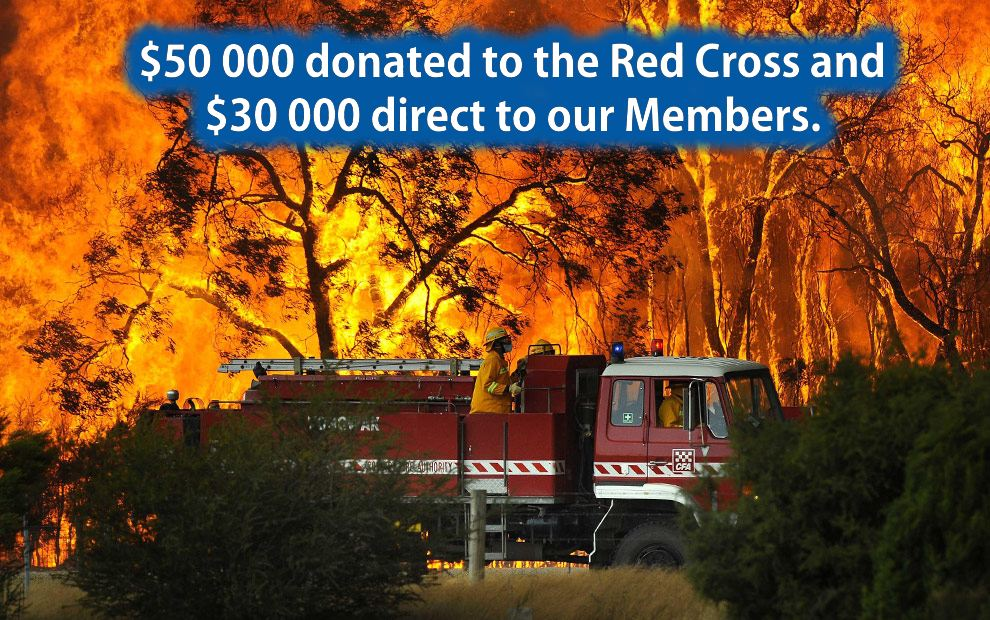 property club charity donation to victorian bushfire